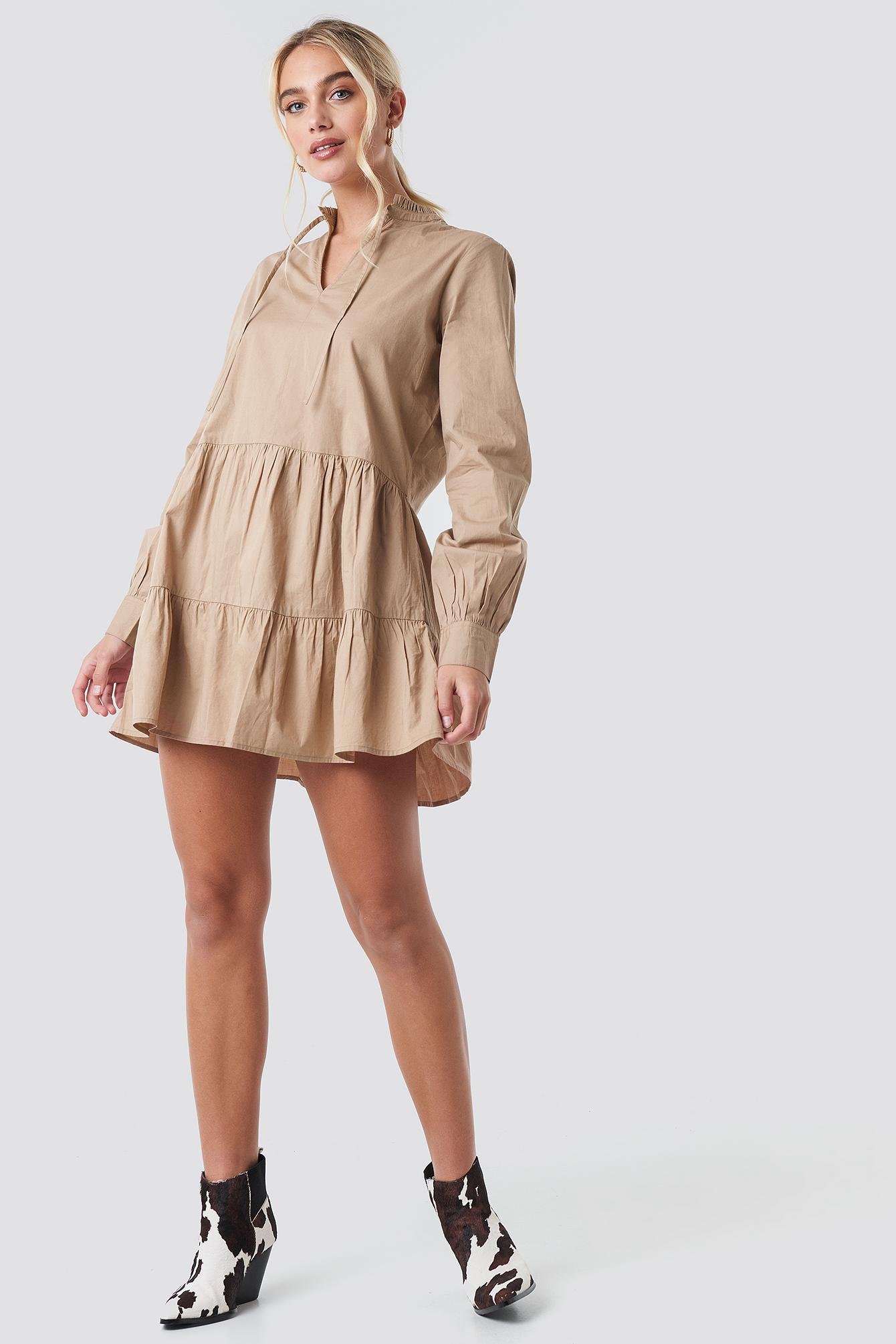 Loose Fit Frill Tunic Dress NA-KD.COM