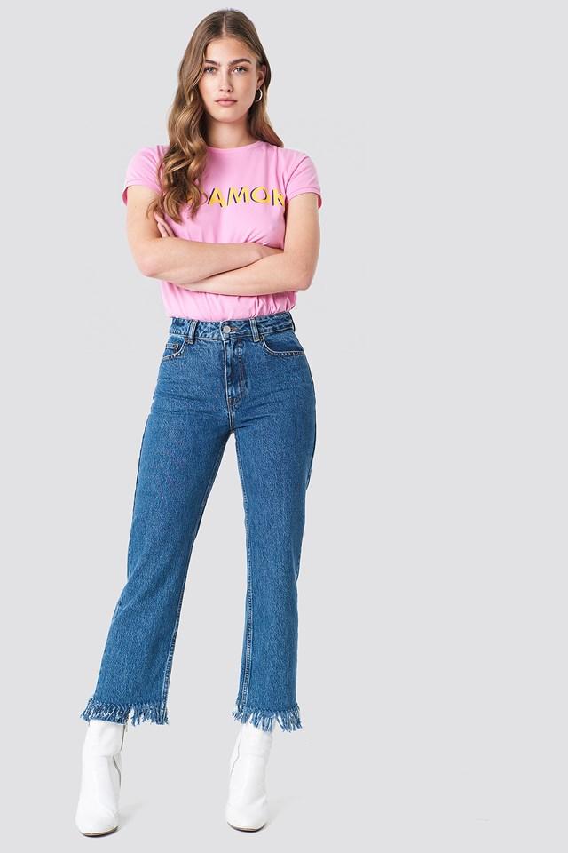 Luźne spodnie z frędzlami Mid Blue