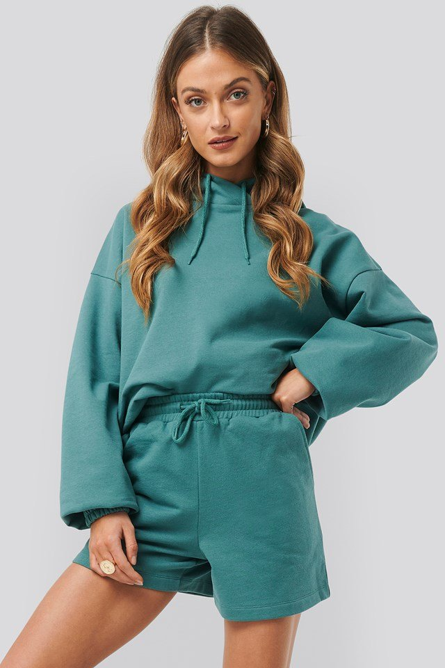 Loose Fit Jersey Shorts Green