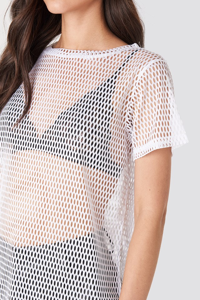 Loose Fit Mesh Top White