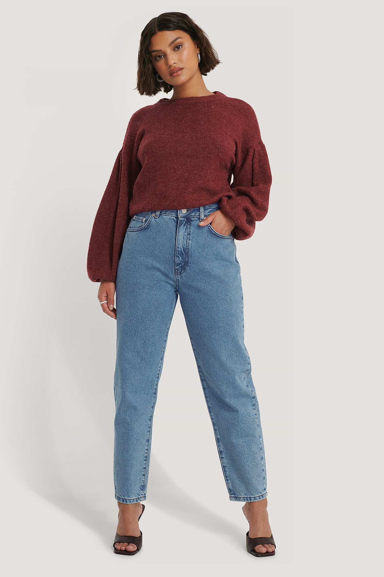 Mid Blue Loose Fit Mom Jeans