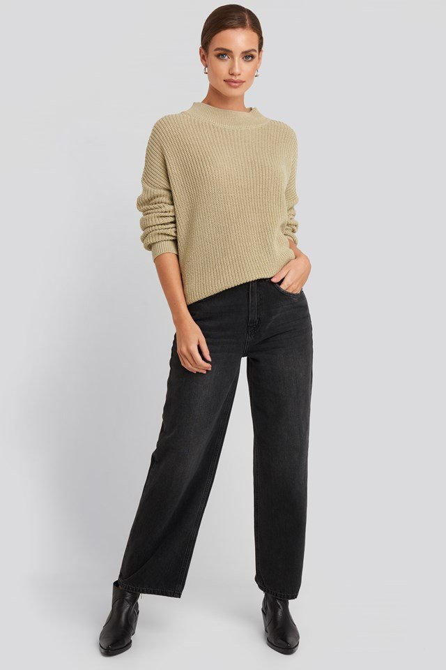 Loose Fit Ribbed High Neck Sweater Beige