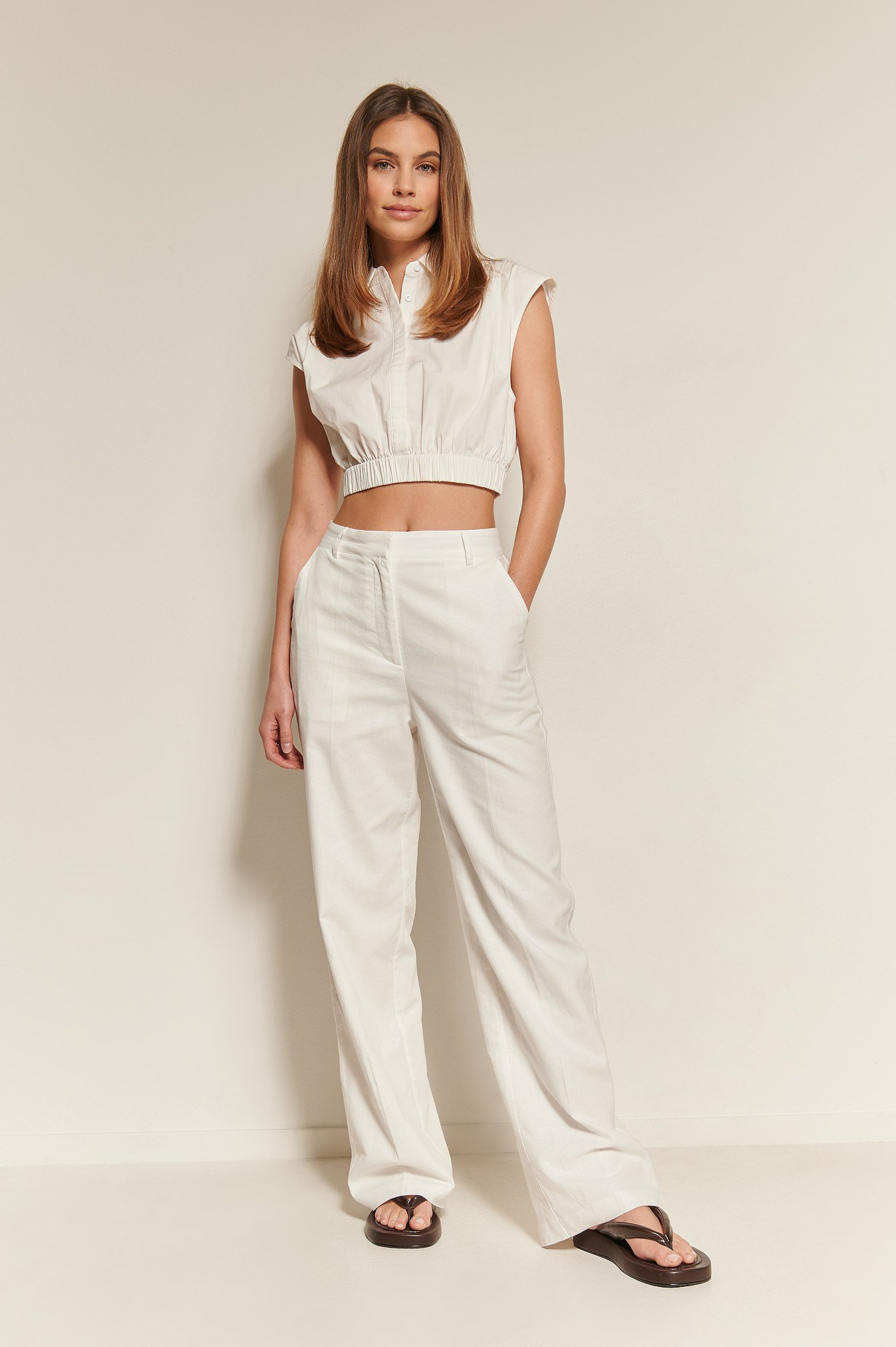 White Loose Fit Suit Pants