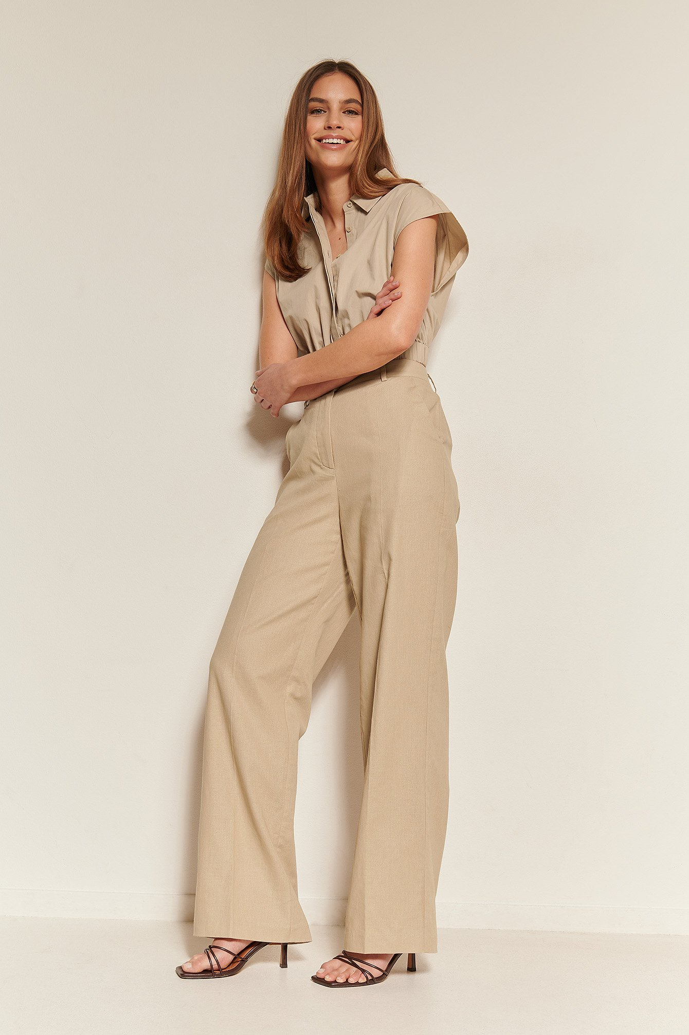 na-kd classic -  Anzughose Mit Enger Passform - Beige