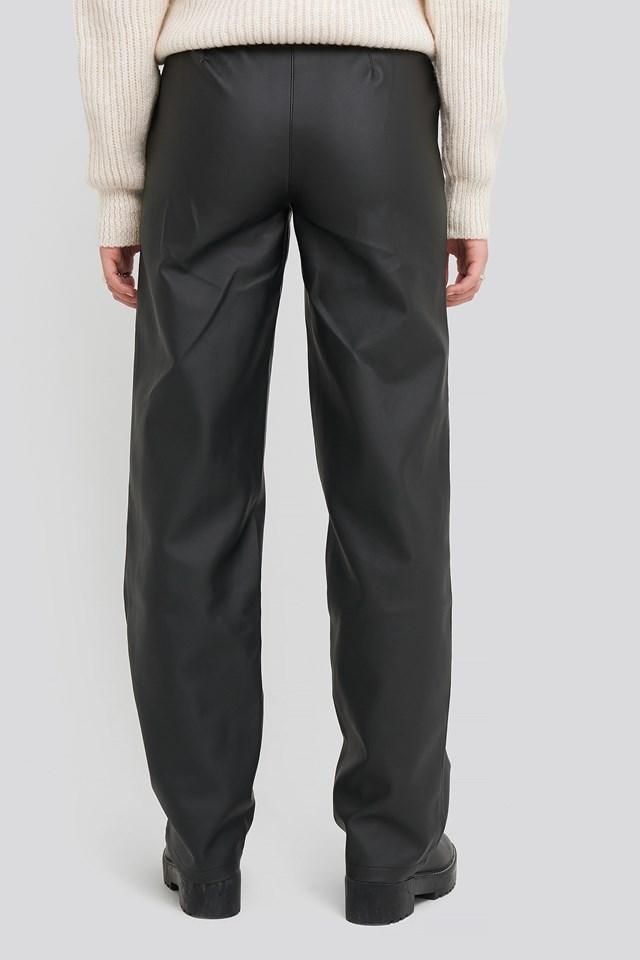 Loose Leg PU Pants Black