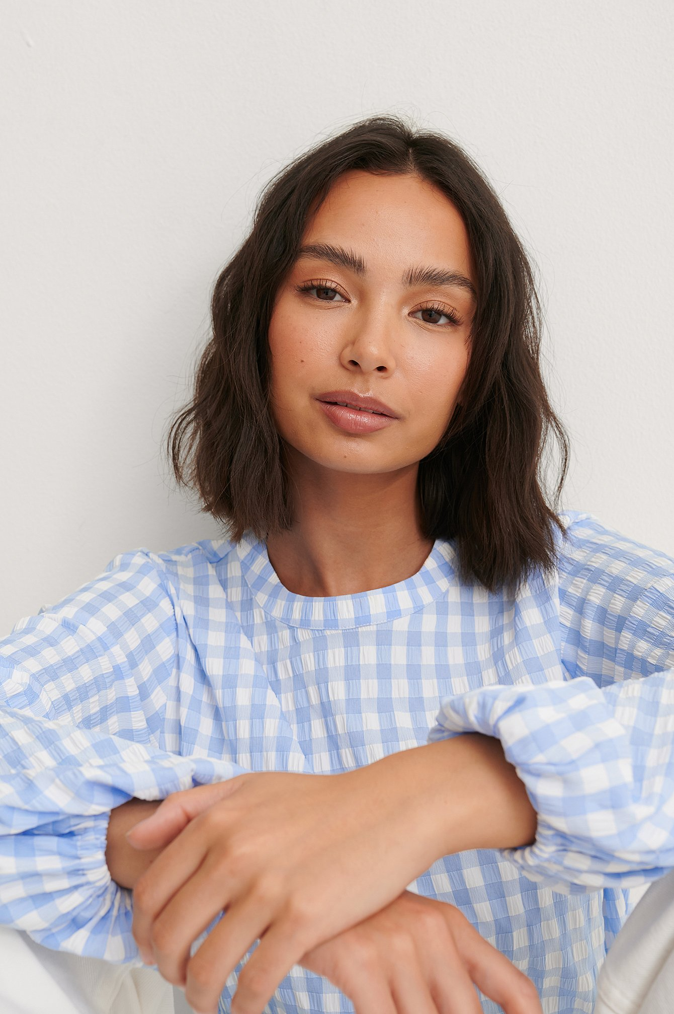 Blue Check Checked Blouse