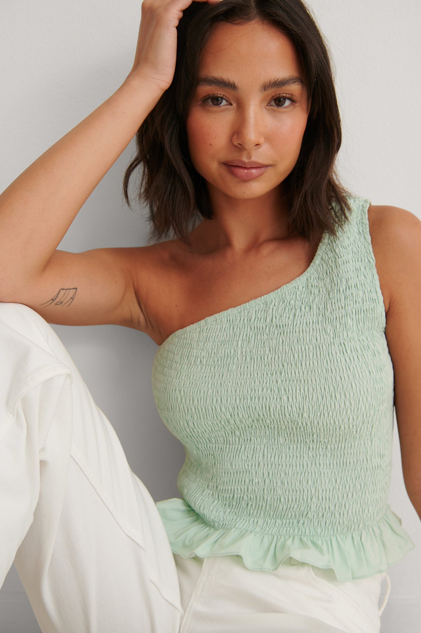 Dusty Mint Oneshoulder Crop Top