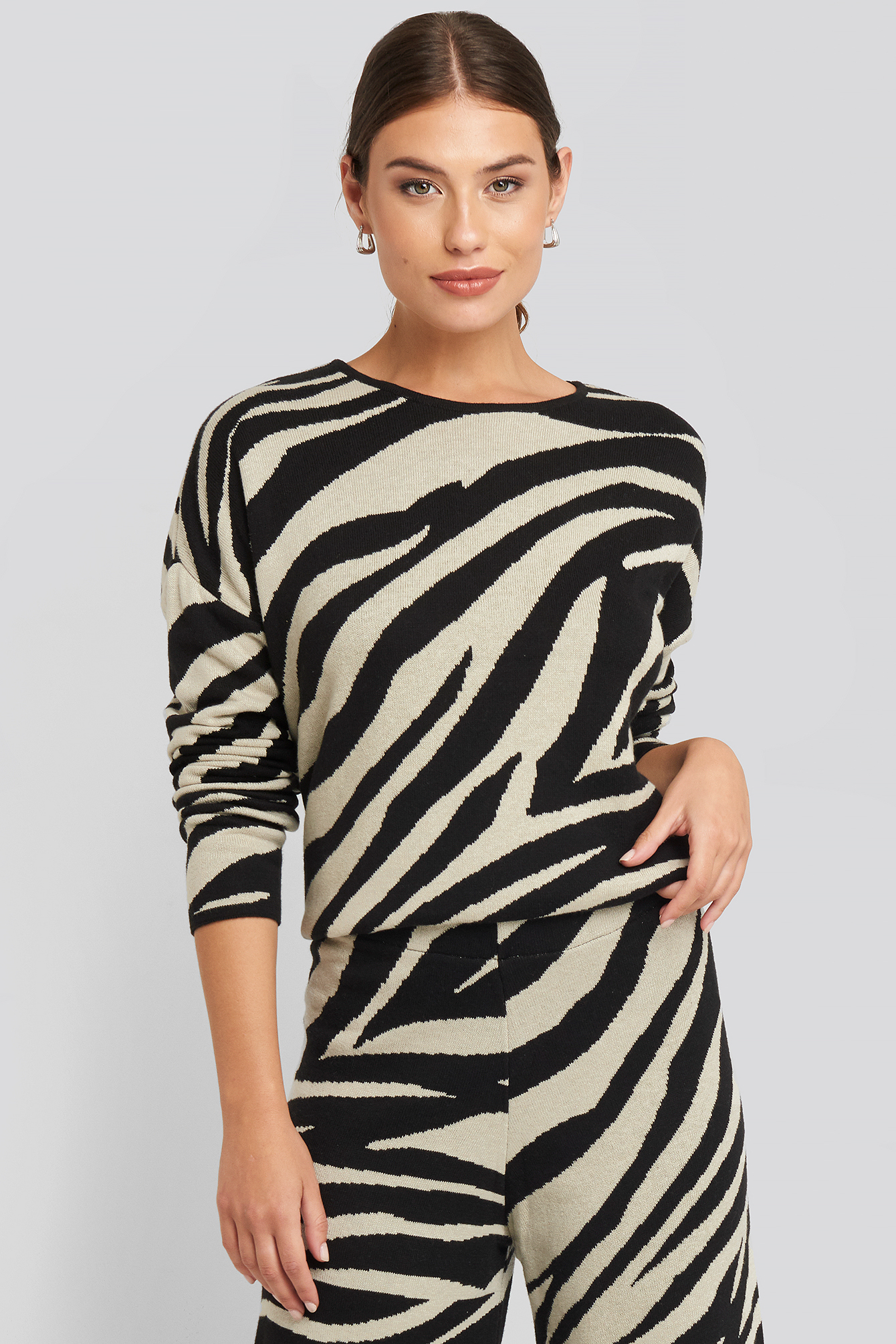 na-kd -  Lounge Round Neck Sweater - Multicolor