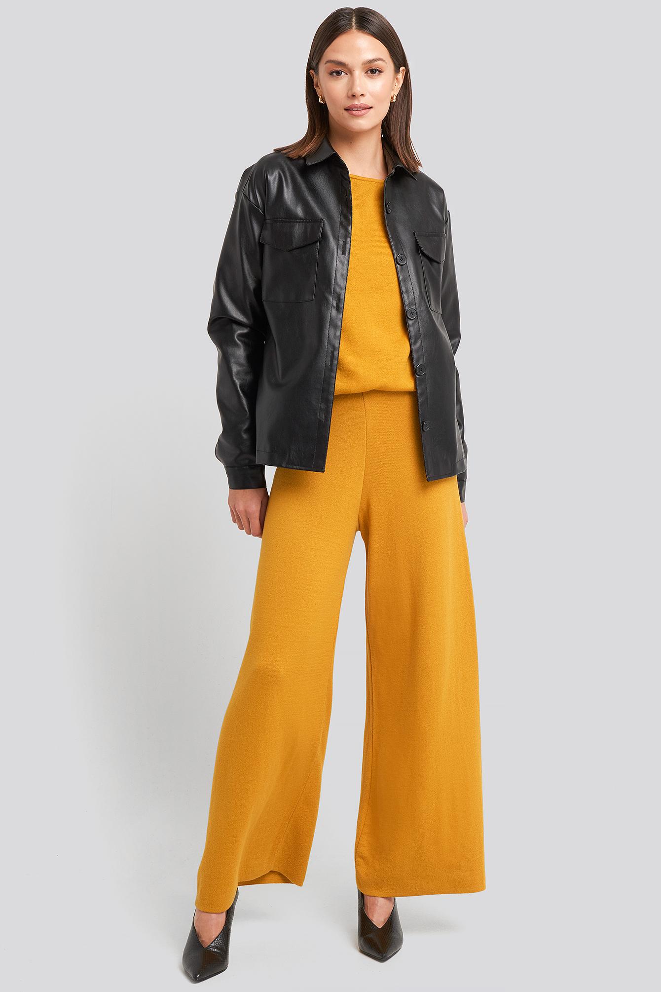 na-kd -  Lounge Wide Leg Pants - Yellow