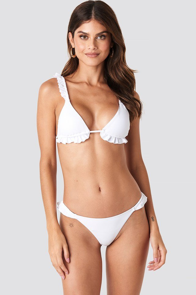 Low Cut Frilled Bikini Bottom White
