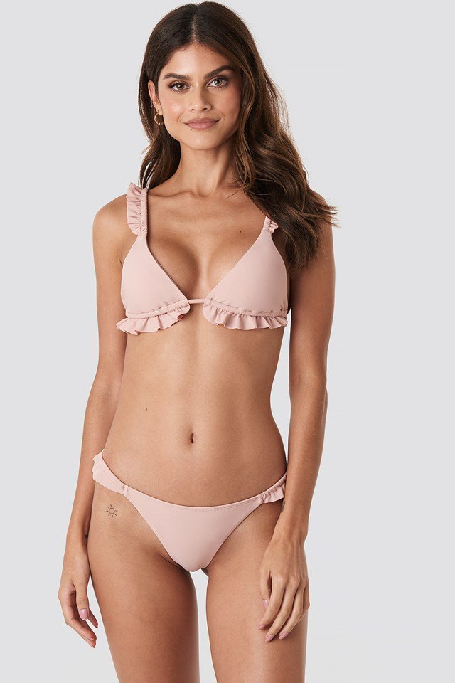 Low Cut Frilled Bikini Bottom Pink