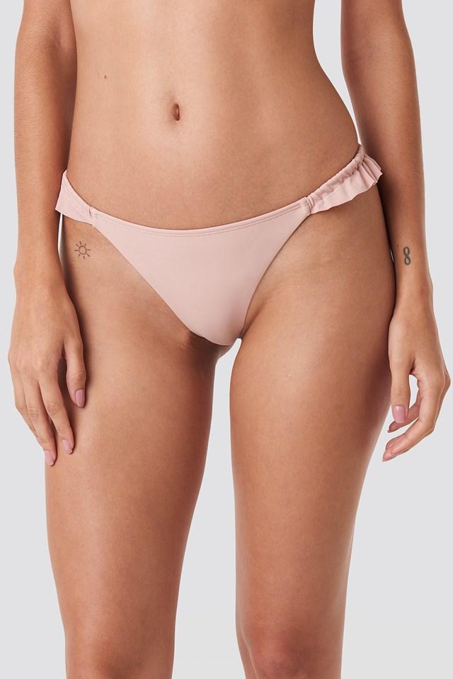 Low Cut Frilled Bikini Bottom Pink