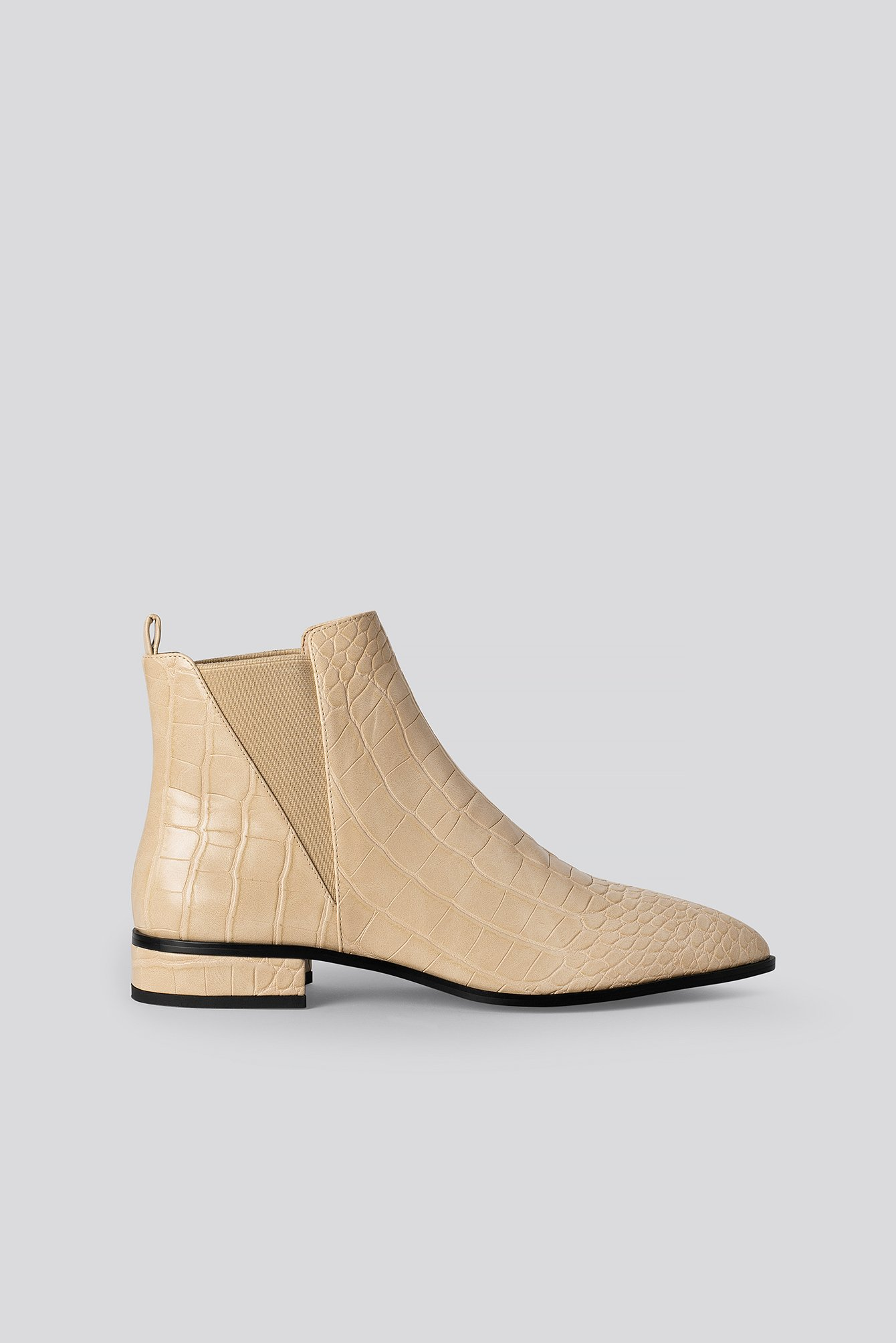 Glossy Beige Croc Low Pointy Chelsea Boots