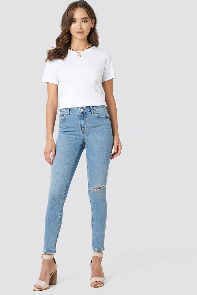 Low Rise Distressed Skinny Jeans Light Blue Wash
