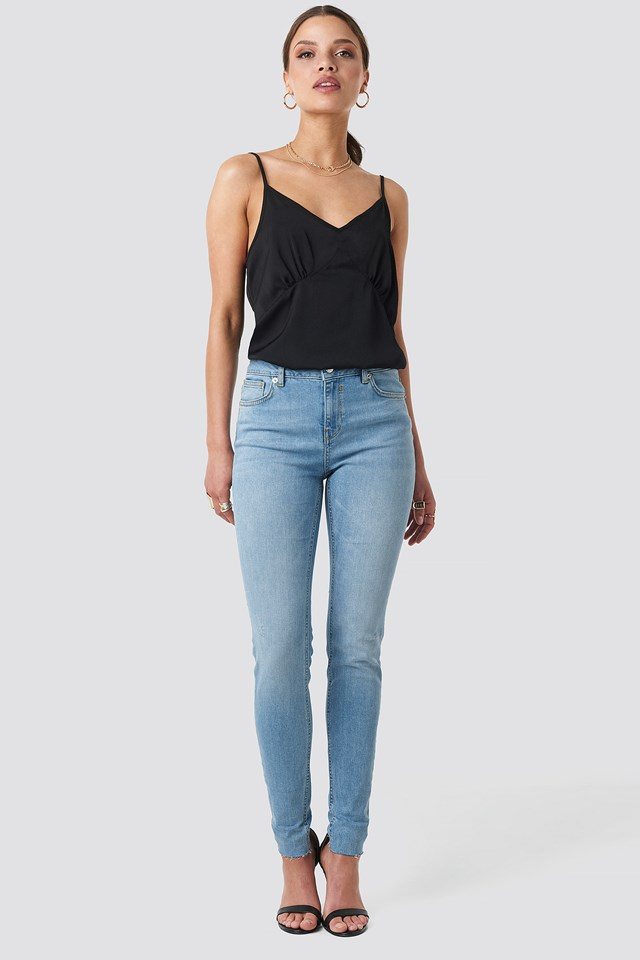 Low Rise Turn Up Skinny Jeans Light Blue Wash