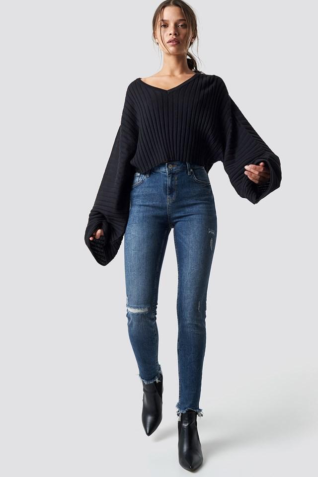 Low Waist Skinny Jeans Mid Blue
