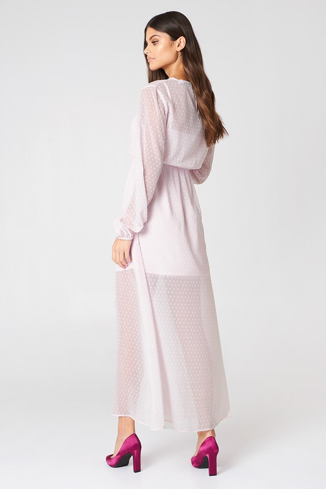 LS Dotted Chiffon Maxi Dress Light Pink