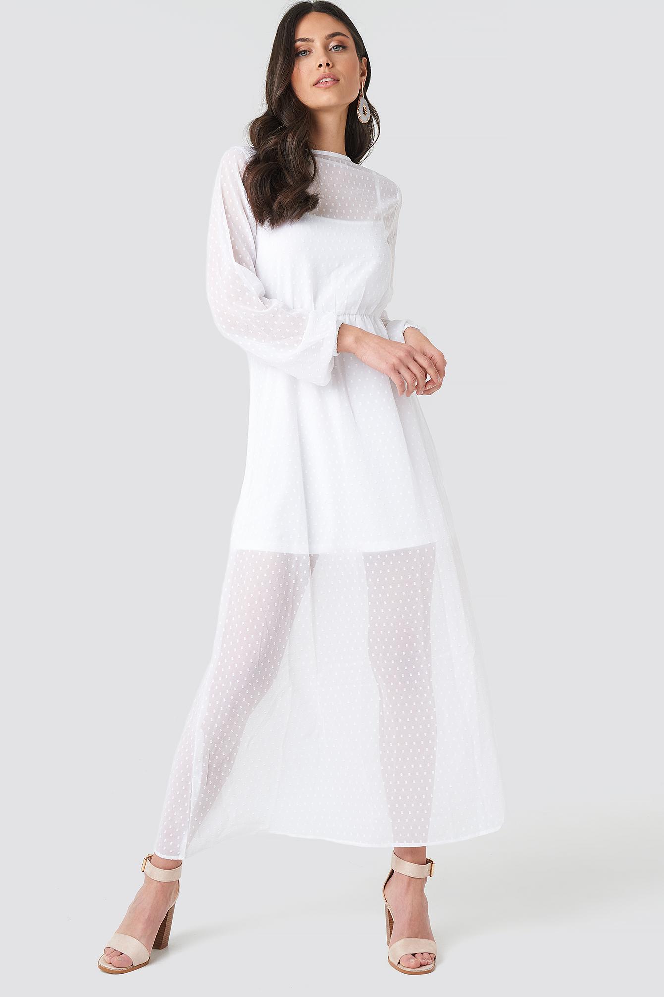 LS Dotted Chiffon Maxi Dress NA-KD.COM