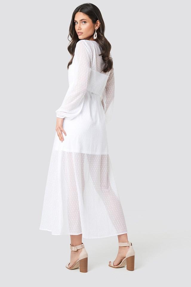 LS Dotted Chiffon Maxi Dress White