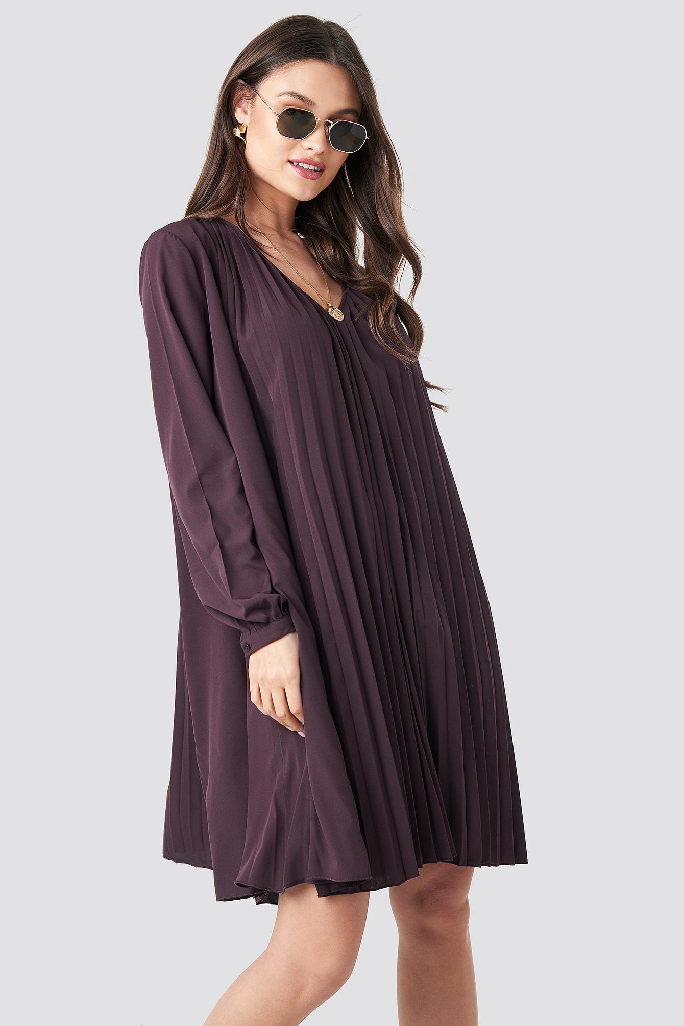 LS Pleated Midi Dress NA-KD.COM