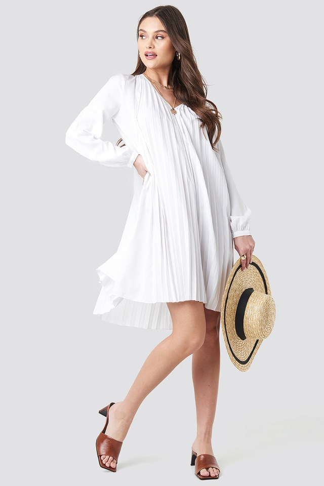 LS Pleated Midi Dress NA-KD Boho