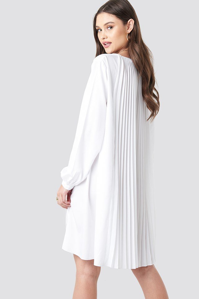 LS Pleated Midi Dress White