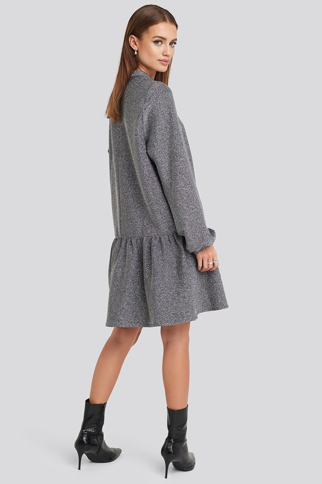 Lurex High Neck Balloon Sleeve Mini Dress Silver