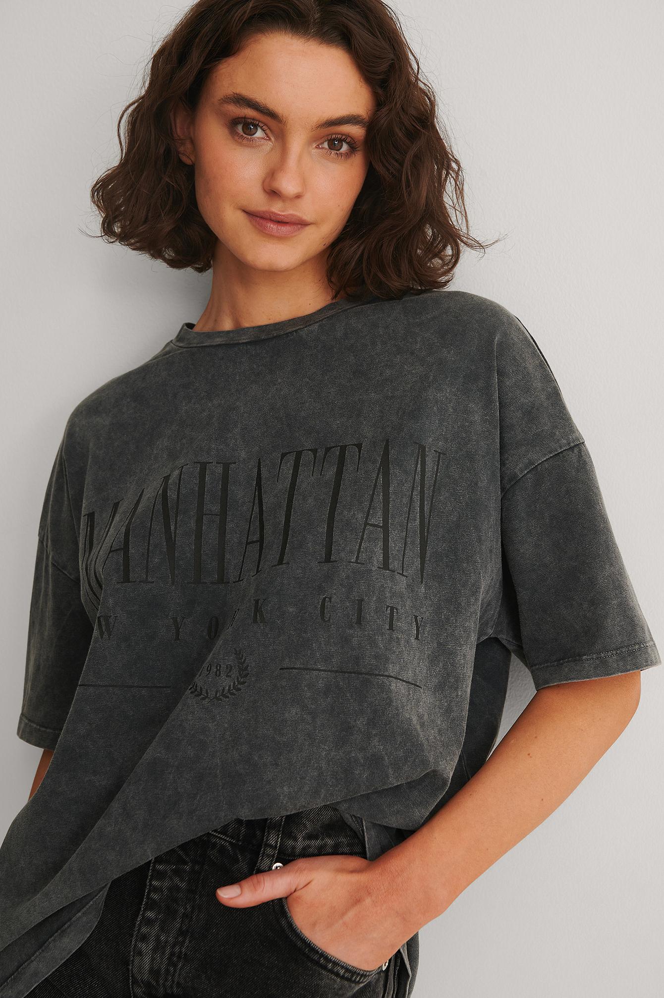 NA-KD Trend Økologisk T-shirt Med Print Af Manhattan - Black
