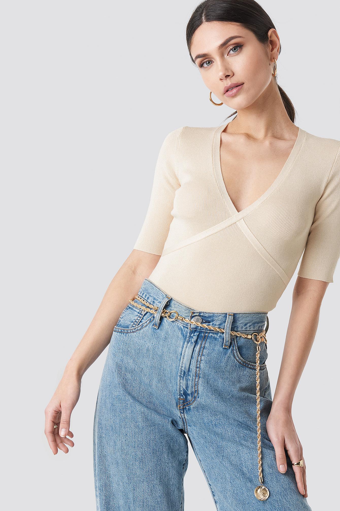 NA-KD Trend Marked Bust Line Sweater - Beige