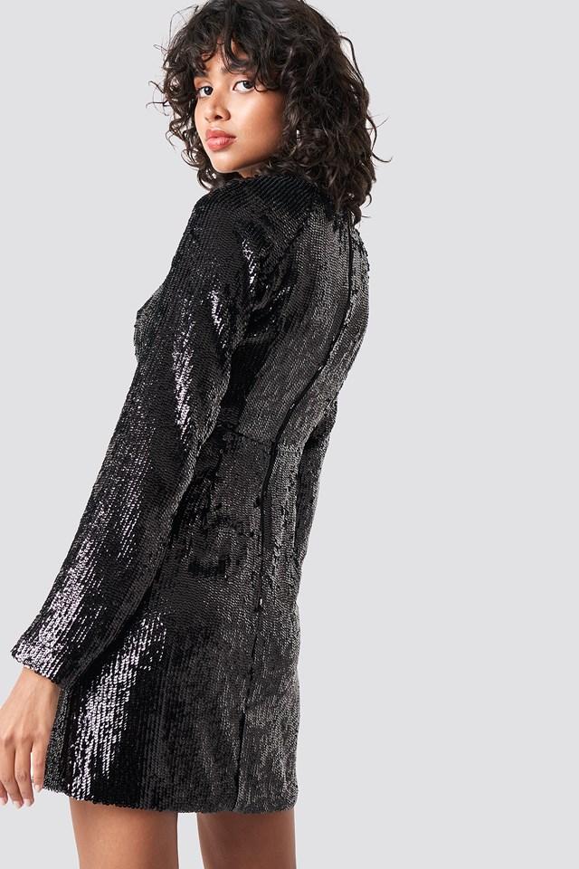 Marked Shoulder Sequins Mini Dress Black