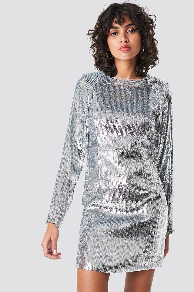 Marked Shoulder Sequins Mini Dress Silver