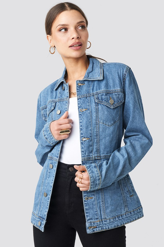 Marked Waist Denim Jacket Mid Blue