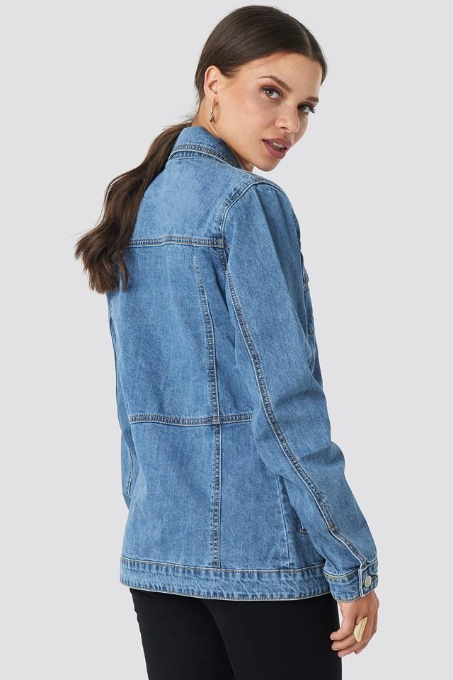 Marked Waist Denim Jacket Mid Blue