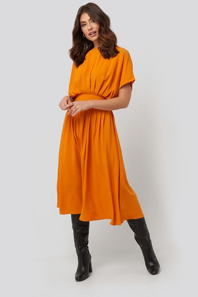 Marked Waist Dress Mustard