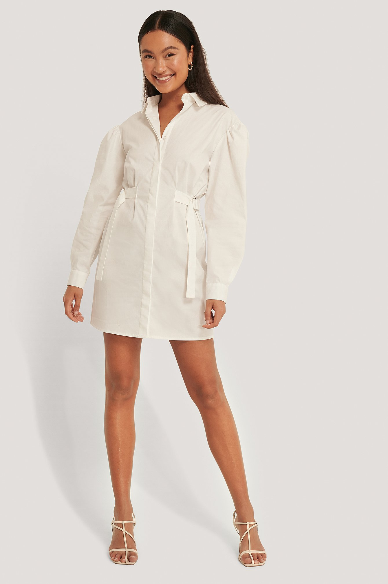 White Marked Waist Oversized Shirt Dress