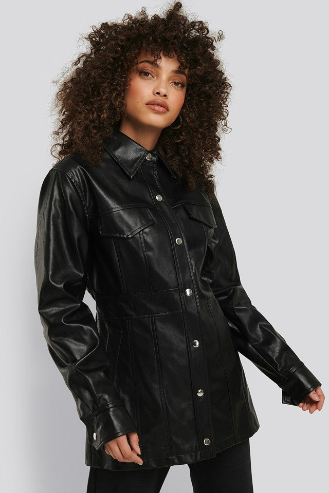 Marked Waist PU Jacket Black