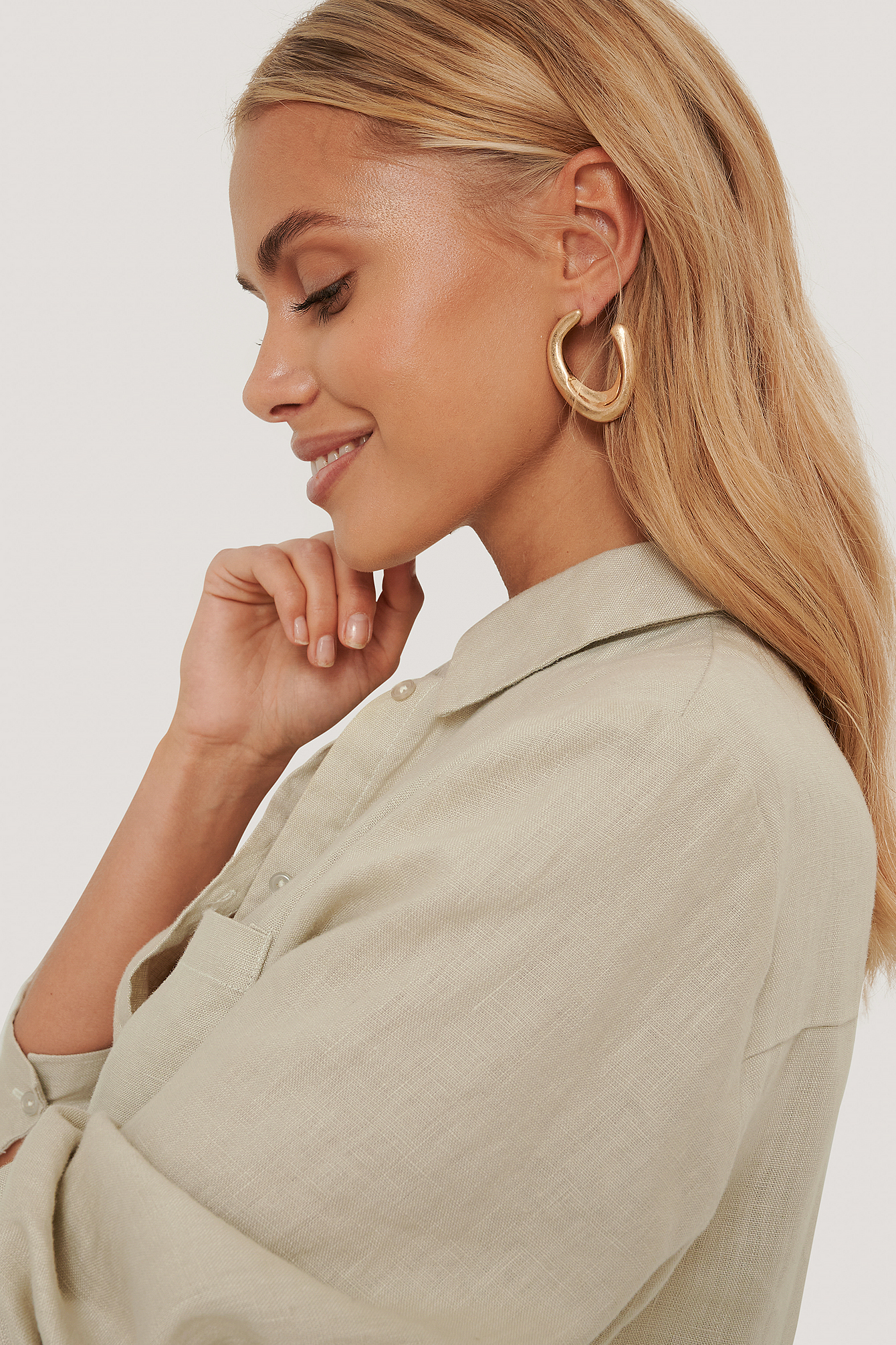 na-kd accessories -  Matte Chubby Earrings - Gold