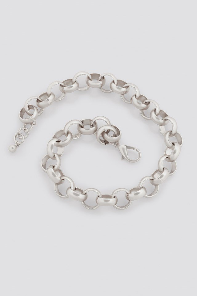 Matte Chunky Chain Necklace Silver