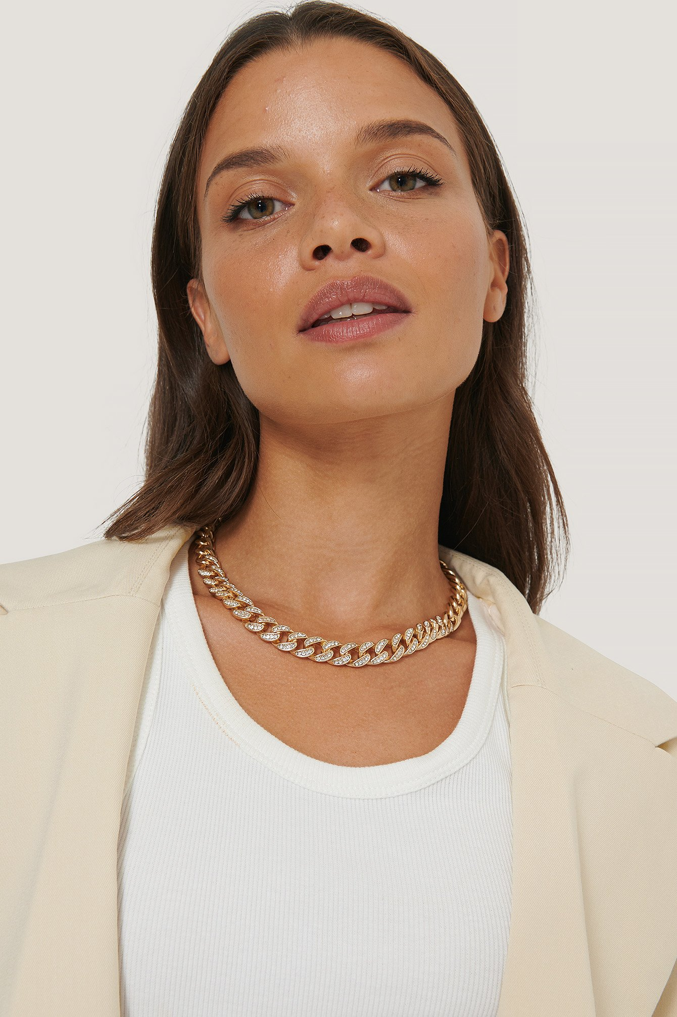 na-kd accessories -  Matte Sparkling Chain Necklace - Gold
