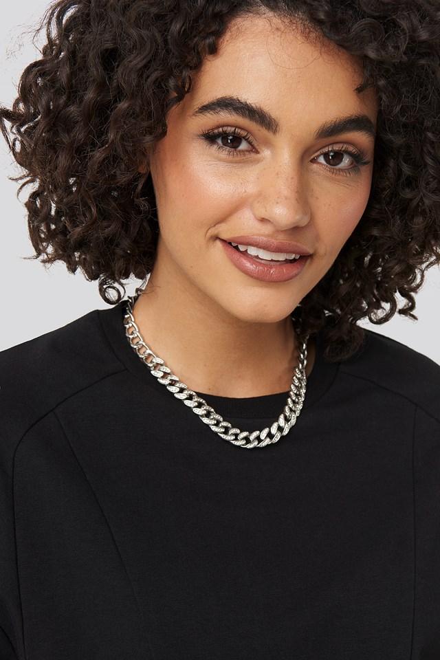 Matte Sparkling Chain Necklace Silver