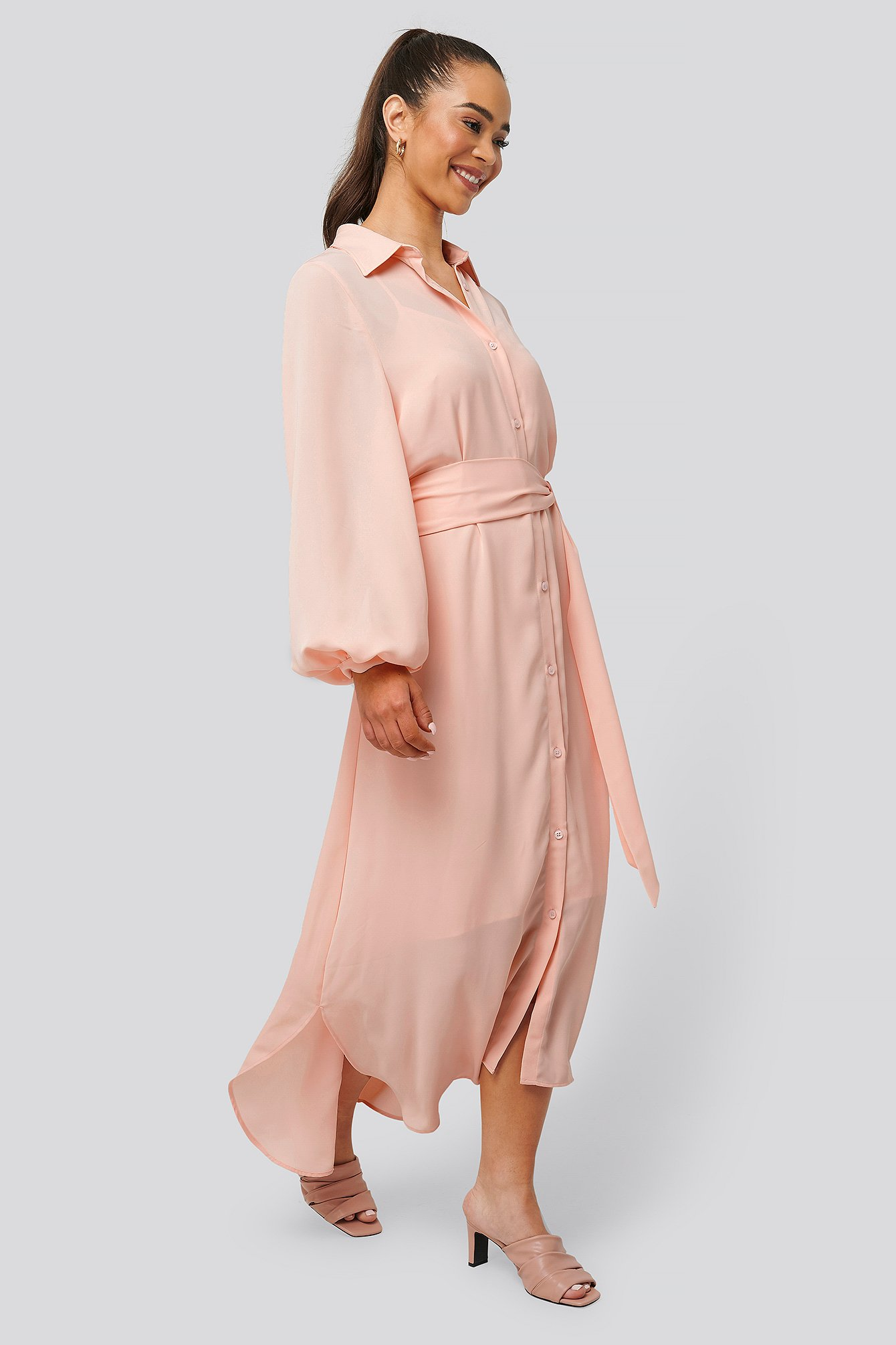 Pink Maxi Belted Dress