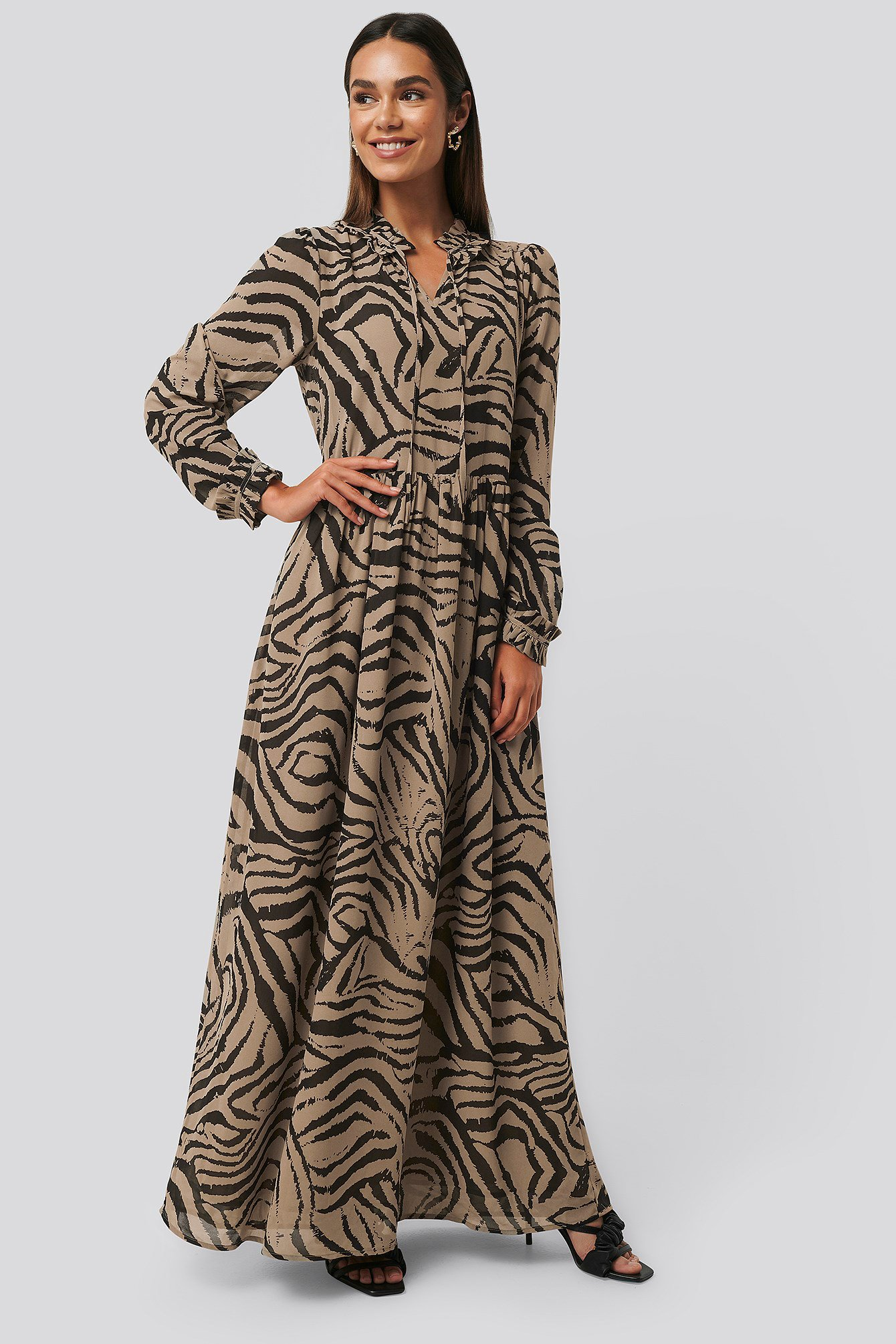 Zebra Maxi Frill Sheer Dress