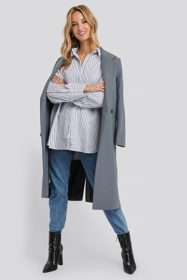 Maxi Oversized Striped Shirt Blue/White Stripe