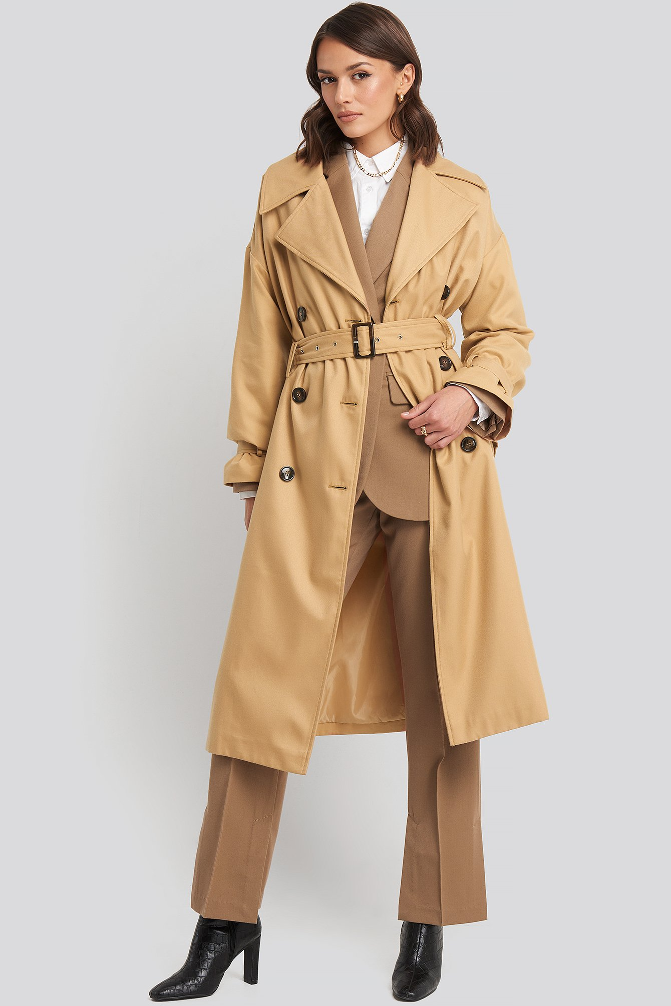 na-kd classic -  Maxi Oversized Belted Coat - Beige