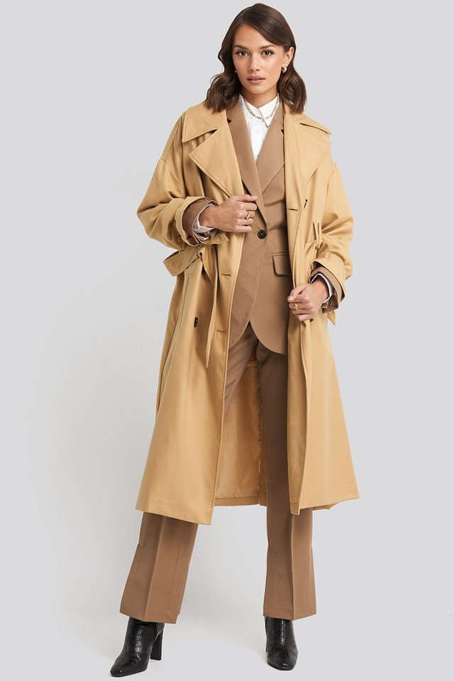 Maxi Oversized Belted Coat Beige