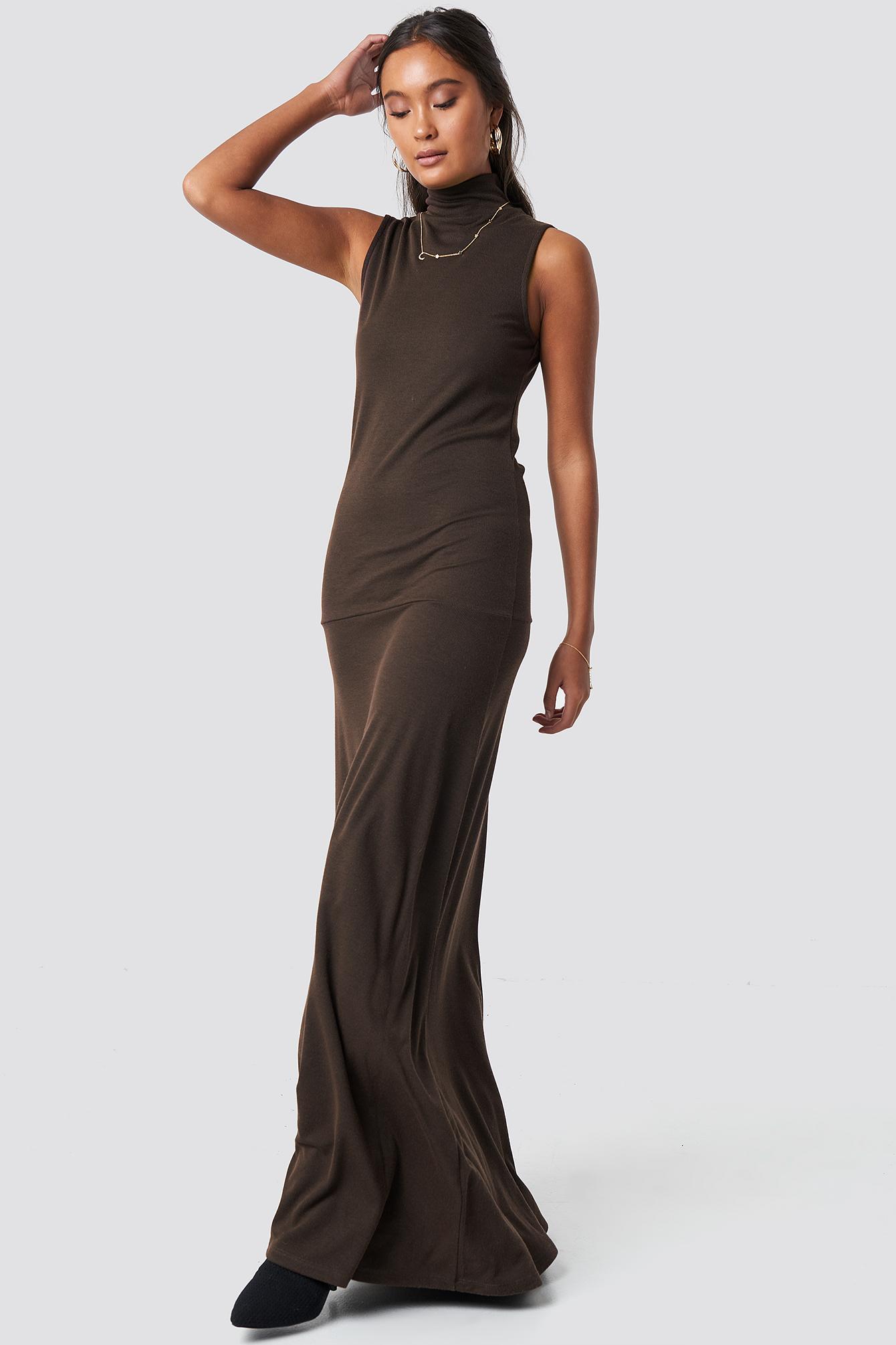 na-kd trend -  Maxi Polo Rib Dress - Brown