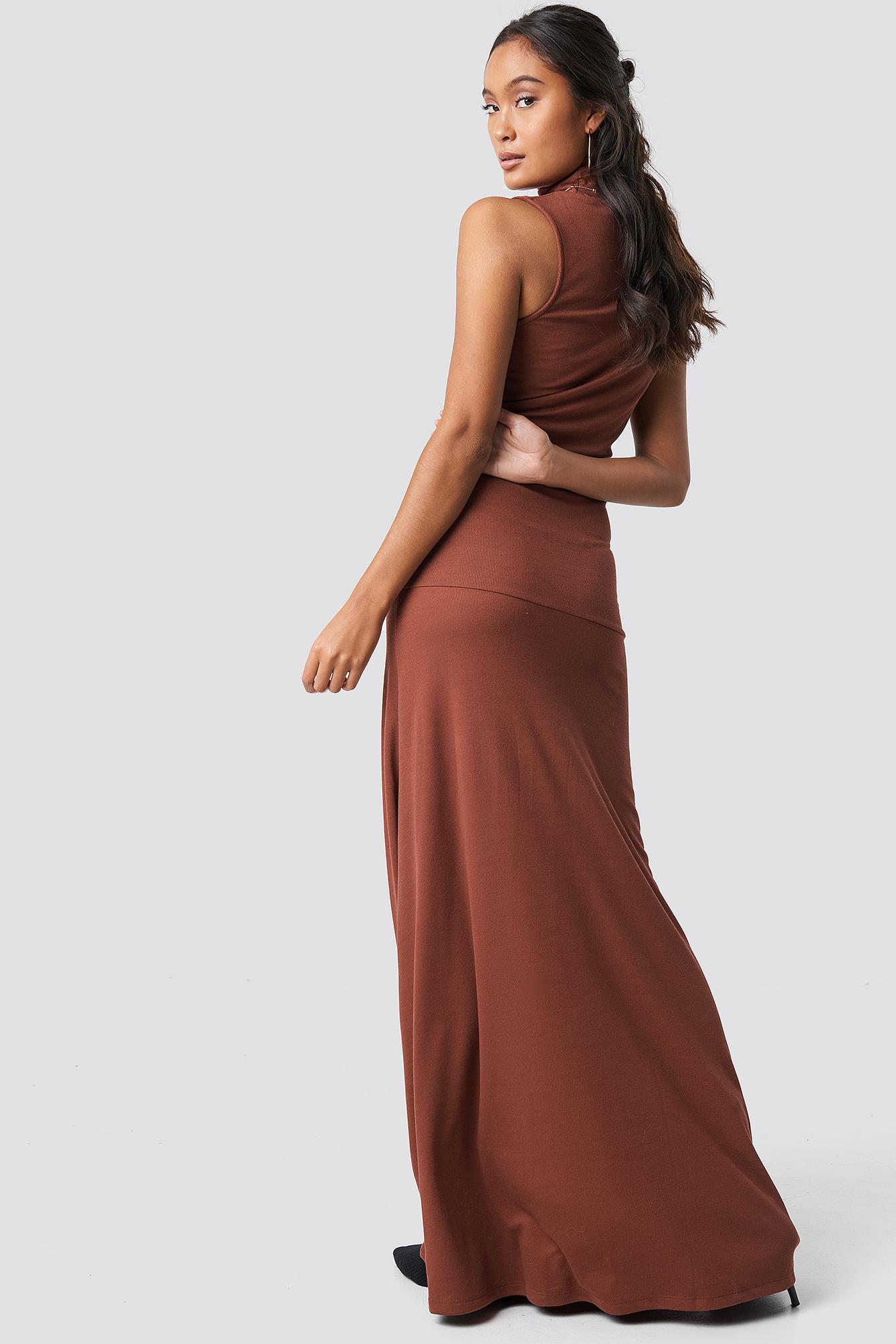Maxi Polo Rib Dress NA-KD.COM