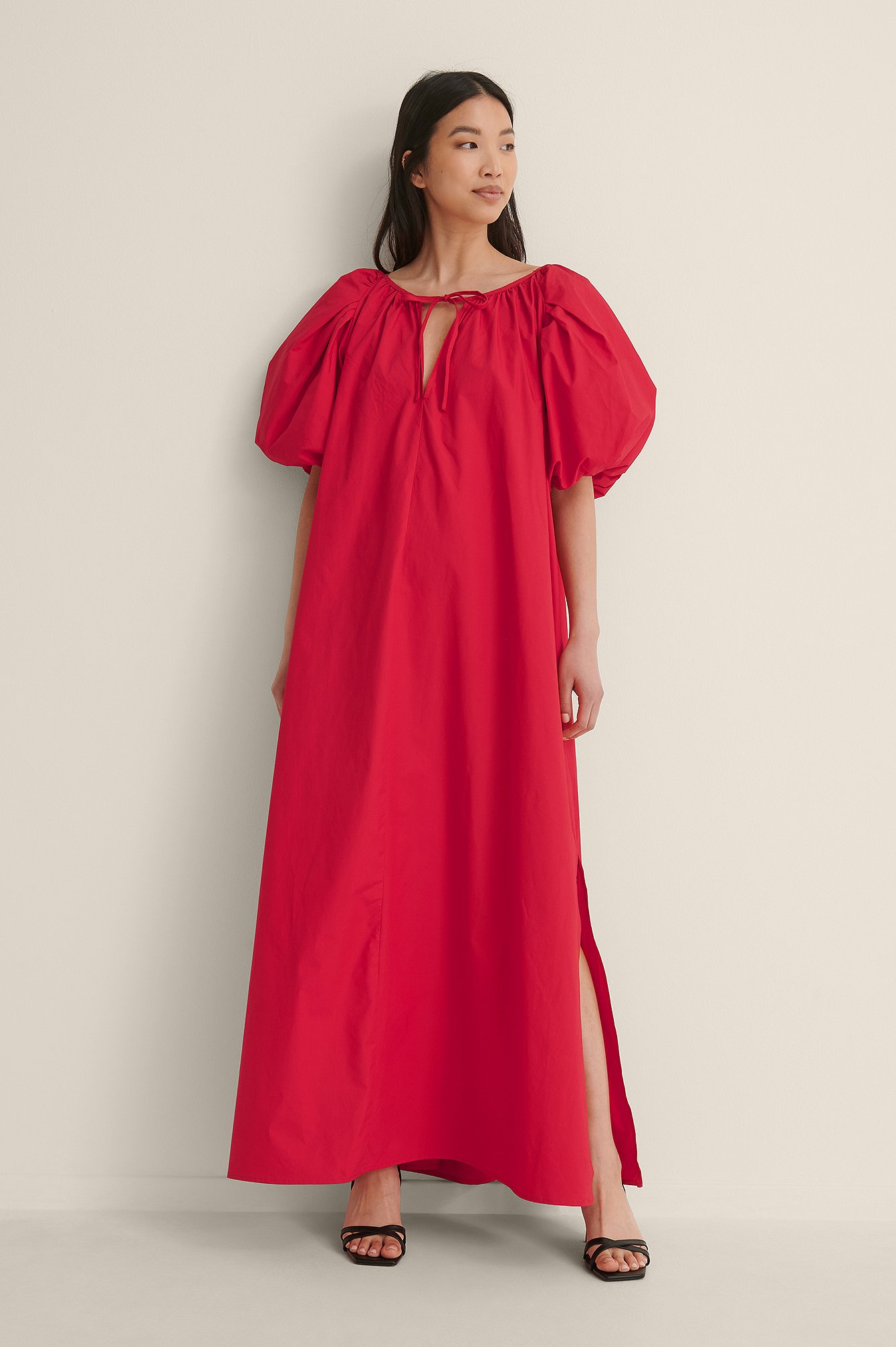 Red Organic Maxi Volume Cotton Dress