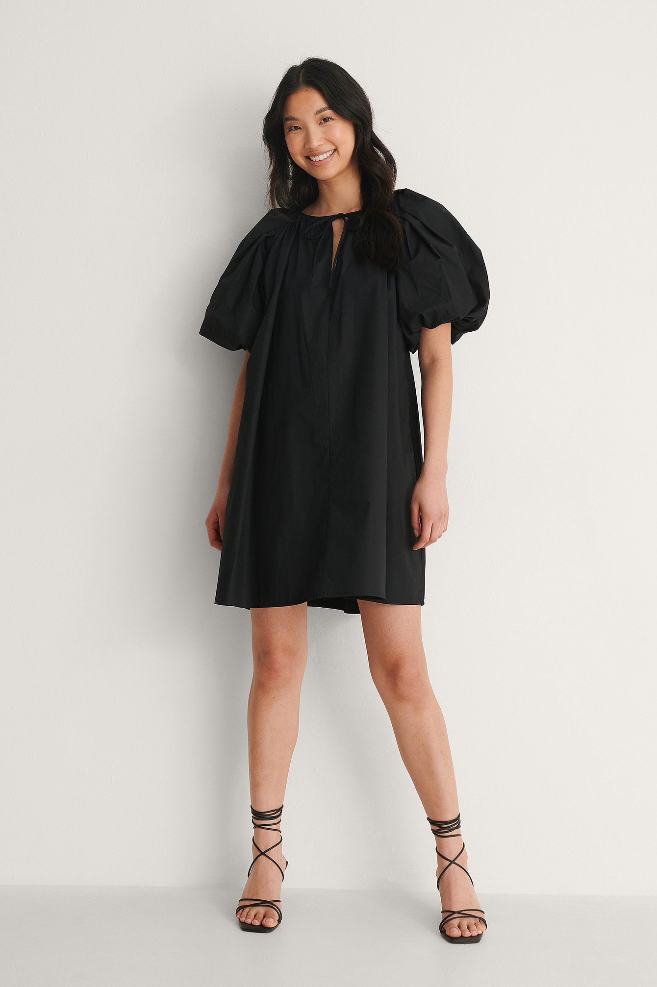 Black Maxi Volume Mini Cotton Dress