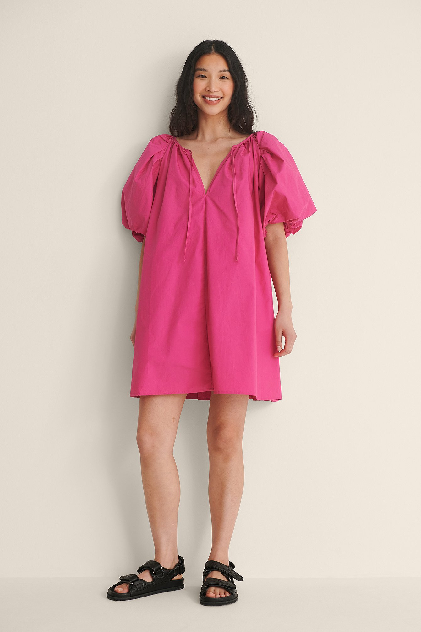 Pink Organic Maxi Volume Mini Cotton Dress
